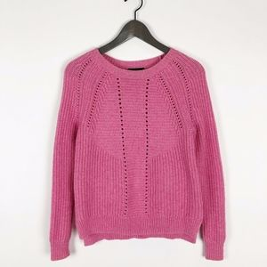 J. Crew Pink Cable Knit Wool Bled Sweater XS
